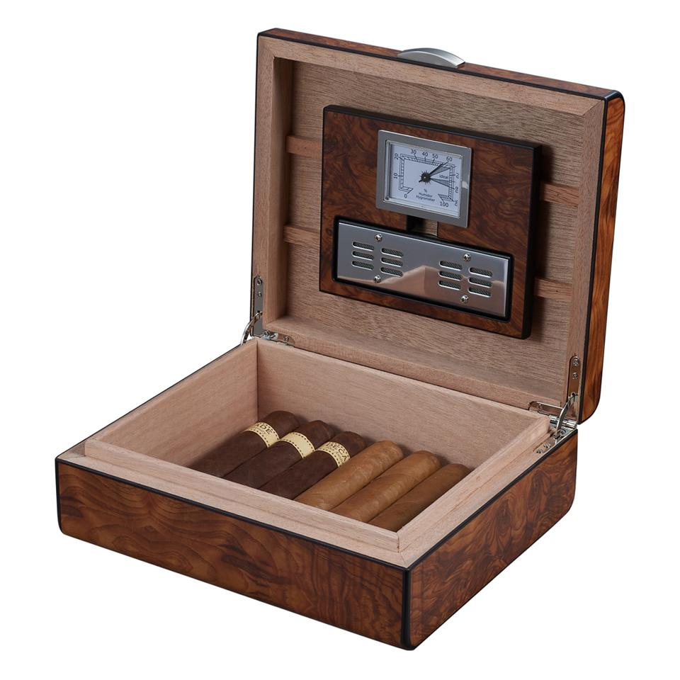 Widar 25 Cigar Count Humidor | Smooth Burlwood - Shades of Havana