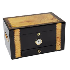 Windermere Humidor - 100 Cigar Capacity - Black Gold With Drawer