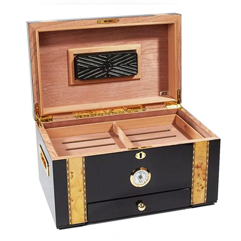 Image of Windermere Humidor 100 Cigar Count | Black Gold With Drawer