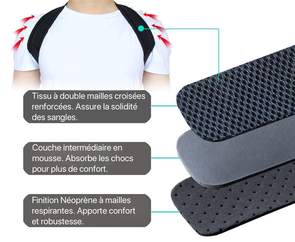Un homme porte une sangle redresse-dos BACK.STRAP en neoprene