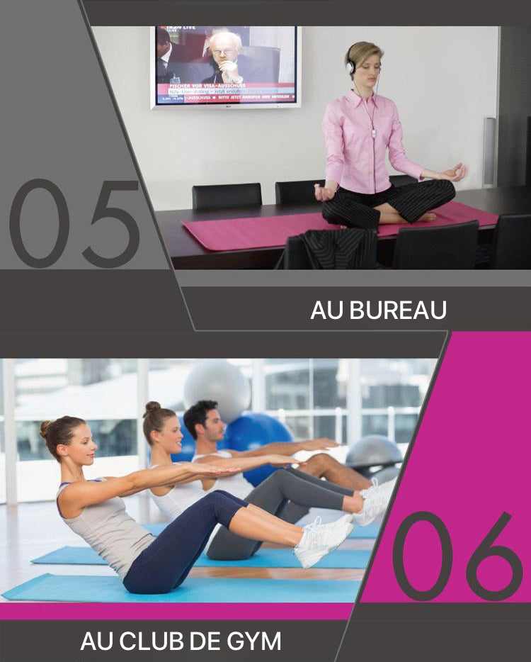 Tapis de gym 8mm utilisable au bureau ou au club de gym.