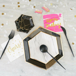 black and marble paper plates, boutique party accessories, party in a box