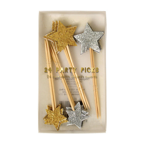 Gold & Silver Star Party Picks