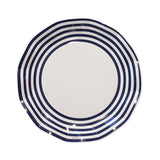 White & Navy Stripe Plate