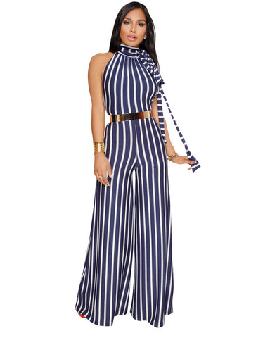Backless Wide Leg Striped Romper with Turtleneck Top