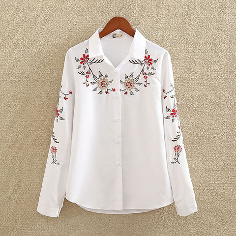 Long sleeve Square Collar White Blouse