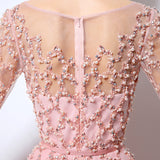 Pink Chiffon Beading Prom Gown