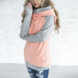 Double hood side zipper Hooded Pullover
