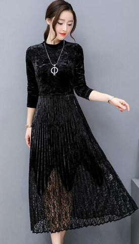 Vintage Long Sleeve Velvet Lace Dress