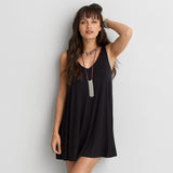 Tanya Collection Black Cotton Sleeveless V Back Dress plus sizes available