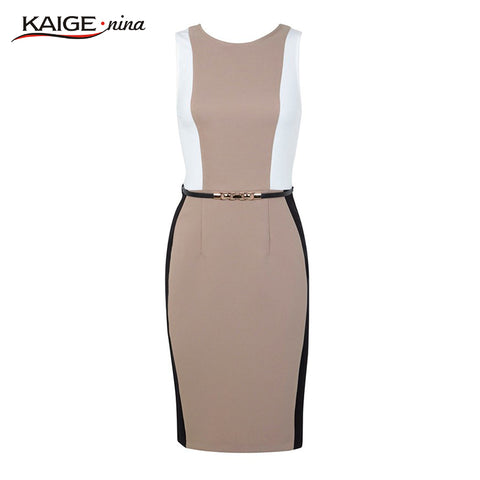 Belted Pencil Sheath Dress
