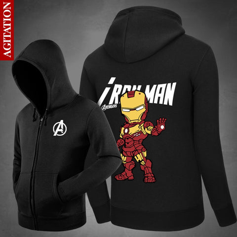 Marvel's Captain America: Civil War Hoodies Iron Man Tony Hoody  Sweatshirts Loose Outerwear Cute Unisex Cotton Zipper Coat