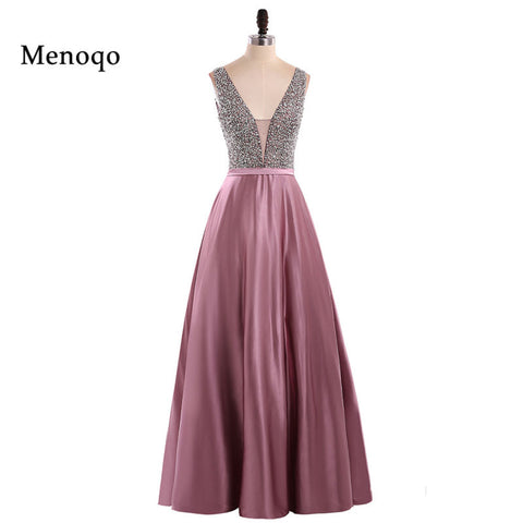 Menoqo V-Neck Beads Bodice Open Back A Line Long Evening Dress Party Elegant Vestido De Festa Fast Shipping Prom Gowns 1