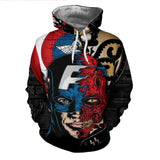 Mutant captain America Anime Hoodies Men/Women 3d Sweatshirts With Hat Hoody Unisex Anime Cartoon Hooded Hoodeis Fashion Brand