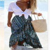 Long High Waist Floral Beach Skirt