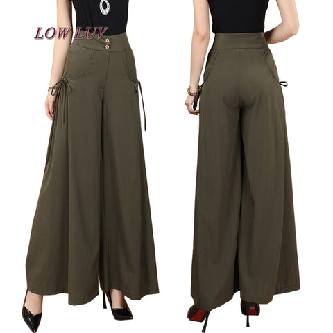 Solid Wide Leg Loose Dress Pants Skirt Trousers