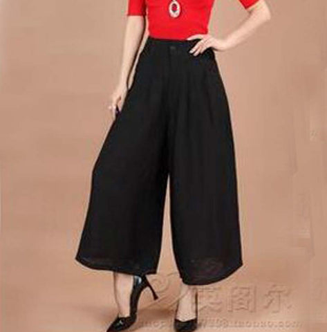 Wide Leg Loose cotton Dress length Skirt Pants