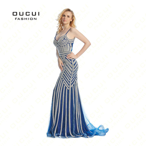 Real Photos Tulle Crystal Royal Blue Color Party Occasion Formal Long Evening Dress OL102829 1