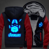 USA size Captain America Avengers Men Women Jacket Luminous Zipper Sweatshirts Casual Thicken Hoodie Coat Clothing