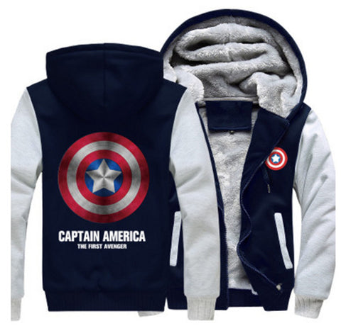 USA size Captain America Shield Logo Men Women Cosplay  Zipper Jacket Sweatshirts Thicken Hoodie Coat