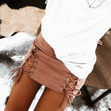 Women Suede Lace Up A-Line Skirts High Waist Ladies Sexy Bandage Party Mini Skirt Summer Black Pink Beige