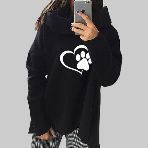 Paw Print Sweatshirt With Scarf Collar Pullover