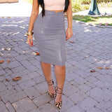 Leather High Waist Casual Pencil Skirt