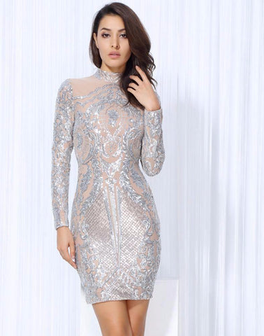 Silver Geometric Sequins Party Dress