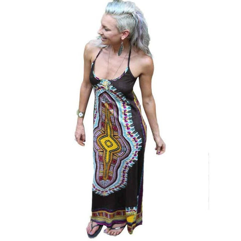 African Print Sleeveless Long Harness Dress