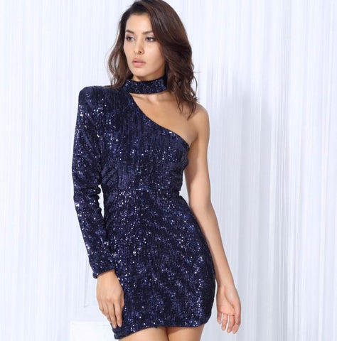 Choker Style One Sleeve Sequin Party Dress