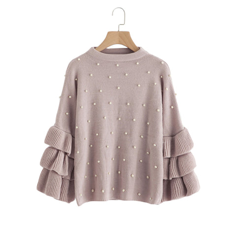 Pearl Beading Sleeve Detail Pullover