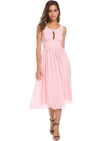 Keyhole Backless Chiffon Pleated Dress