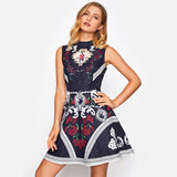 Mixed Print Fit and Flare Jacquard Dress