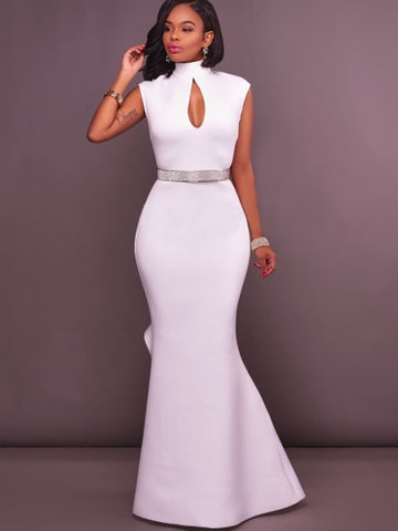 Open Back White Maxi Dress