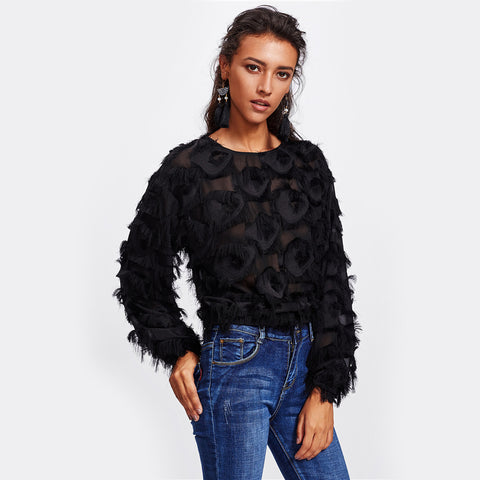 Fringe Patch Mesh Party Pullover