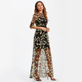 Botanical Embroidery Party Maxi Dress