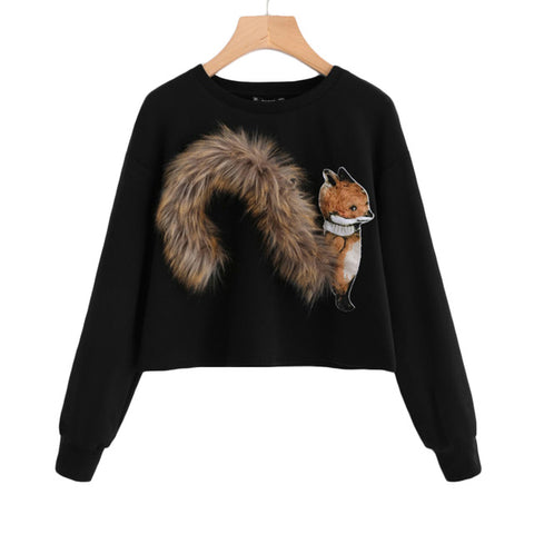 Round Neck Faux Fur Fox Patch Pullover Sweater