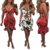 Floral Ruffle Two Piece Spaghetti Strap Summer Dress
