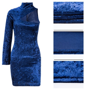One Shoulder Bodycon Velvet Dress