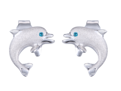 "Denny Wong 14k White Gold ""Jumping Single"" Dolphin Earrings With Blue Diamonds"