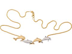 "Denny Wong 14k Two Tone ""Open Sea"" Dolphin Necklace With 4 Blue Diamonds"