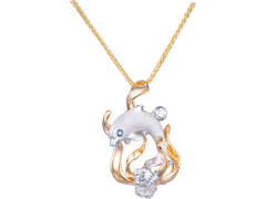 Denny Wong 14k Two-Tone Dolphin Pendant With Blue Diamond