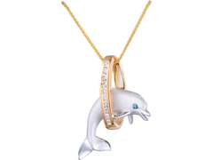 "Denny Wong 20mm 14k Two Tone ""Jumping Loop"" Dolphin Pendant With Diamonds"
