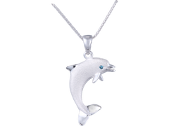 "Denny Wong 15mm 14k White Gold ""Jumping Single"" Dolphin Pendant With Blue Diamond"