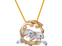 Denny Wong 15mm 14k Two Tone Surfing Dolphin Couple Pendant With Blue Diamonds