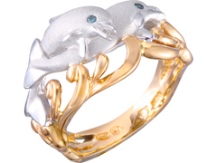 "Denny Wong 20mm 14k Two Tone ""Flipping Couple"" Dolphin Ring With 2 Blue Diamonds"