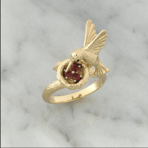 Teufel 14K Yellow Gold 0.17CT Ruby Spinner Ring