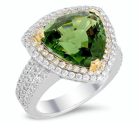 18K white and yellow gold ring with 0.99 CT diamonds and 8.00 CT tourmaline