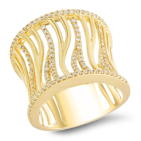 18K yellow gold band with 0.48 CT diamonds