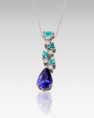 18K White Gold Pendant Necklace with 9 Precious Stones